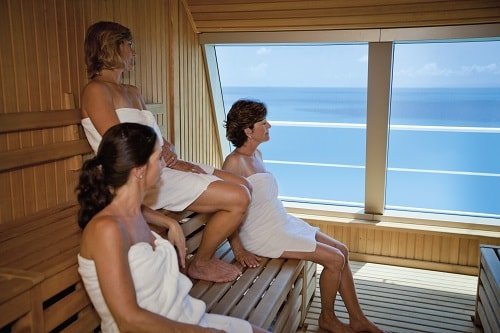 3 women sitting in spa carnival onboard carnival spirit