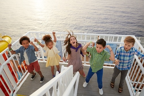 kids having fun on the deck of carnival legend