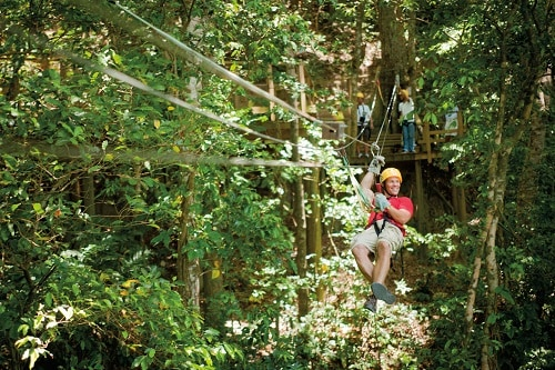 man zip lining through the forest in the caribbean