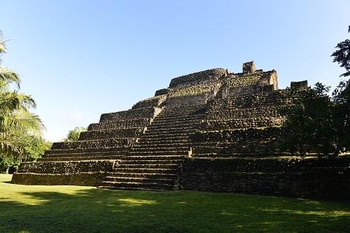 ancient mayan pyramid in costa maya mexico