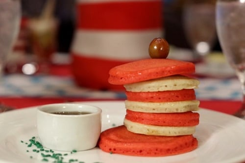 red and white pancakes resembling cat in the hat's hat at the green eggs and ham breakfast