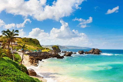 view of the rock formation along the coast of barbados