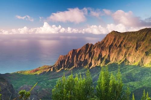 aerial view of the waimea canyon on kauai hawaii