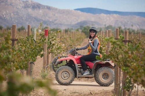 woman riding an off road buggy as she explores mexico's wine country