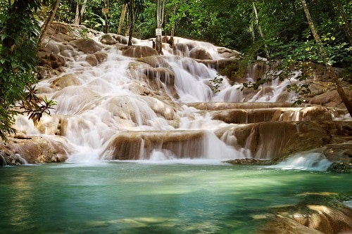 dunns river falls located near montego bay in jamaica