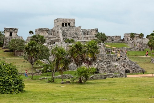 ancient mayan temple located a few miles from cozumel, mexico in the western caribbean