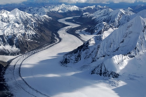 snow covered mountain landscape in alaska