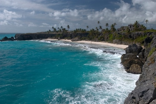 barbados beach and cliffs