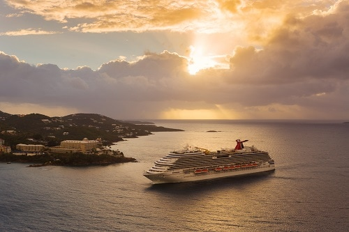 carnival breeze in st thomas at sunset