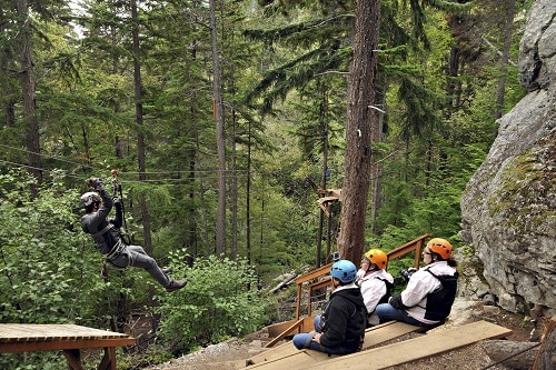 group of people on a zip line excursion in alaska