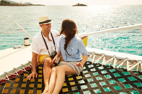 couple exploring a private island on a shore excursion