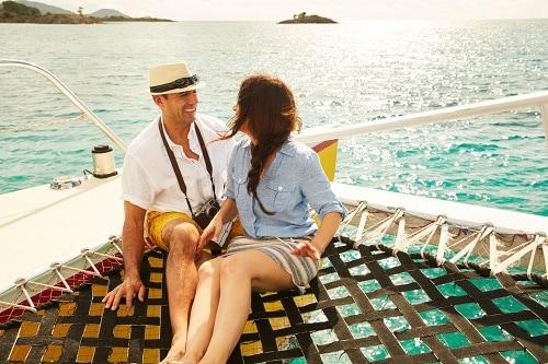 couple exploring a private island on a shore excursion