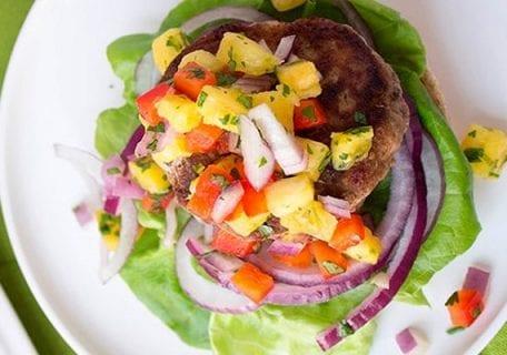 Jamaican Jerk Turkey Burger with Pineapple Salsa Recipe
