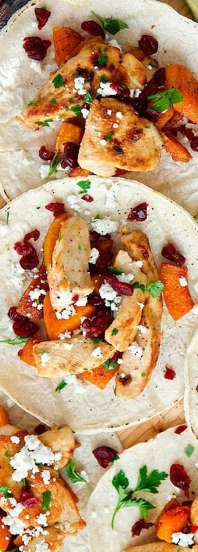 turkey tacos with sweet potato and cranberries