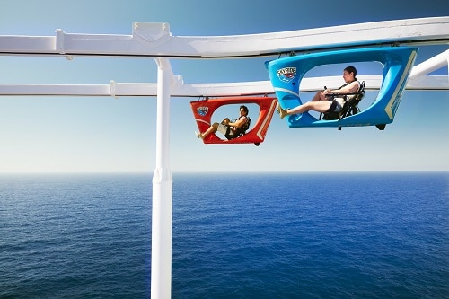 two people enjoying a ride together on skyride