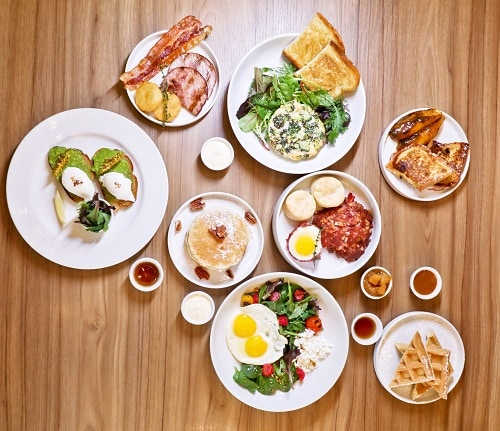 a brunch spread with food from a carnival ship
