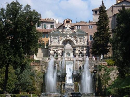 a fountain around the villa and gardens of tibertine