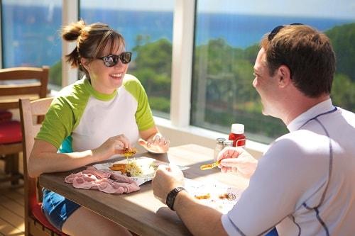 couple enjoying their burger lunch