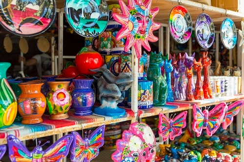mexican ceramic goods for sale at a marketplace