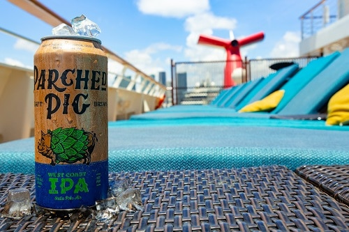 parched pig ipa beer can onboard a carnival ship
