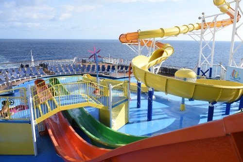twister waterslide and waterworks onboard the carnival elation