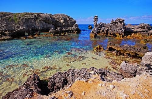 a full view of tobacco bay beach in bermuda