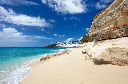 sunny beach with limestone