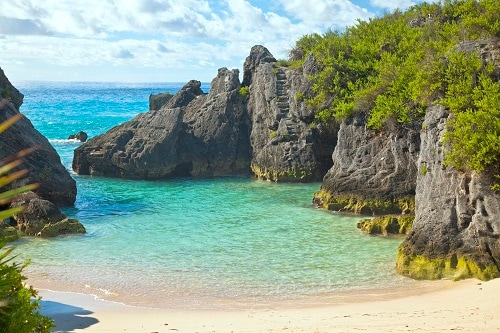 a wide view of jobson's cove beach in bermuda