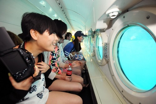 group of people exploring the ocean in a submarine