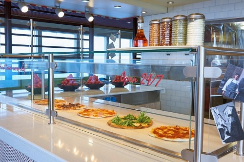 pizza on display onboard a carnival ship