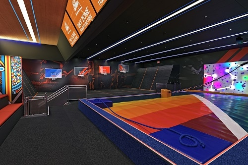 the interior of sky zone onboard carnival panorama