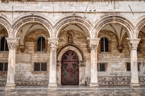 a front view of the entrance to rector's palace
