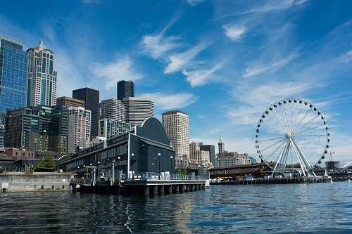 a panoramic view of a seattle pier on the waterfront