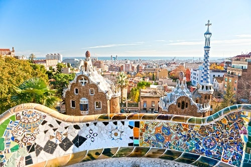 a panoramic view of park guell