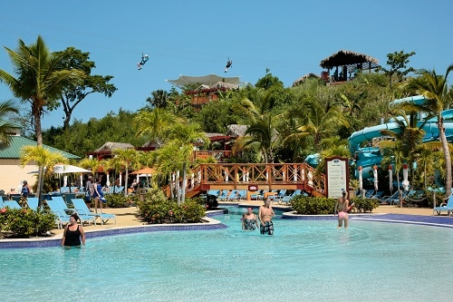 a waterpark resort on near the port of amber cove