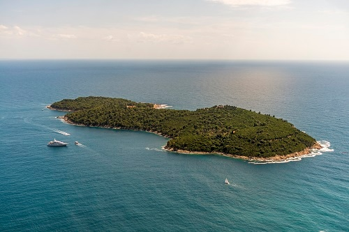 an aerial view of lokrum island
