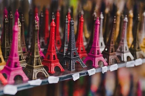 eiffel tower replicas at a souvenir shop in france