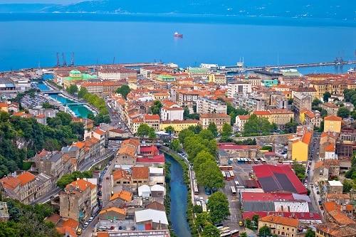 a bird's eye view of the coast of rijeka, croatia