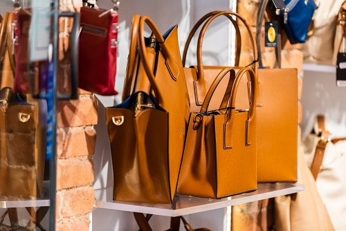 a display of italian leather handbags
