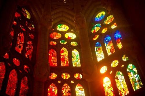 a glimpse of the mosaics inside la sagrada familia