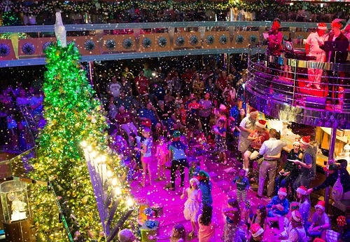 a holiday celebration going on onboard a carnival ship