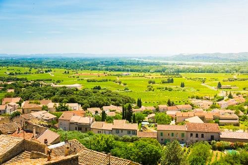 a panoramic view of chateauneuf du pape