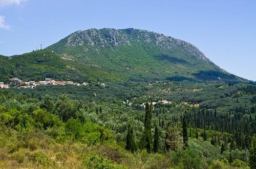 a panoramic view of mount pantokrator in corfu