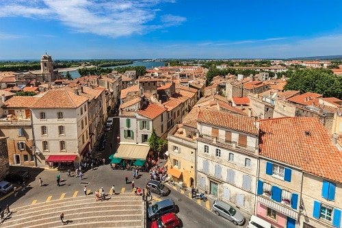 a panoramic view of the town of arles in france
