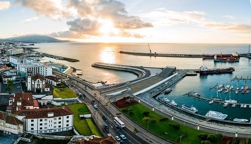 a wide look at the harbor of ponta delgada
