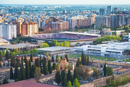 an aerial view of barcelona's largest soccer stadium