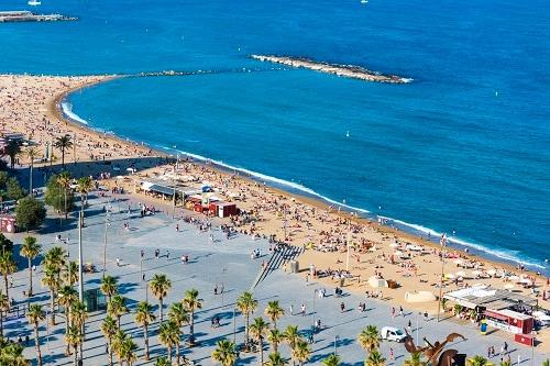 an aerial view of la barceloneta beach