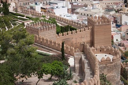 an aerial view of the alcazaba fortress in malaga
