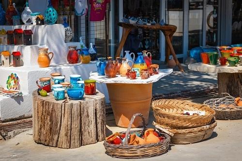 ceramics on display at a greek gift shop