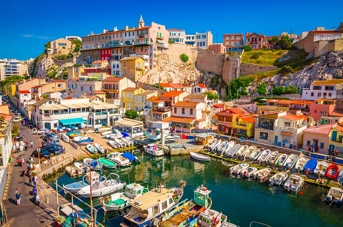panoramic view of a fishing village in marseille